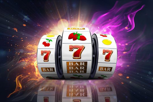 Illustration, Casino element isolation of the slot machine with the lucky jackpot isolation over fire effect and abstract background.