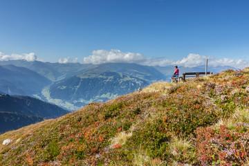 Fototapete - ein Wanderer blickt über die Berge im Zillertal in Tirol