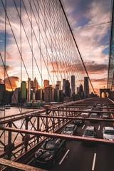 Spoed Fotobehang Brooklyn Bridge Beautiful view from the Brooklyn bridge to the city.
