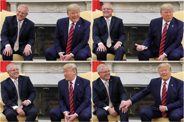 Combination image shows U.S. President Trump meeting with Australia's Prime Minister Morrison at the White House in Washington