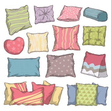 Hand drawn colorful pillow and cushion set with different shape, pattern, size