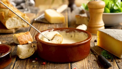 Fotobehang - cheese fondue with wine, cheese and bread