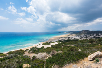 Beautiful sandy beach and azure sea water.