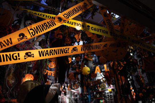 Orange Halloween decorations - with Warning / Caution tape