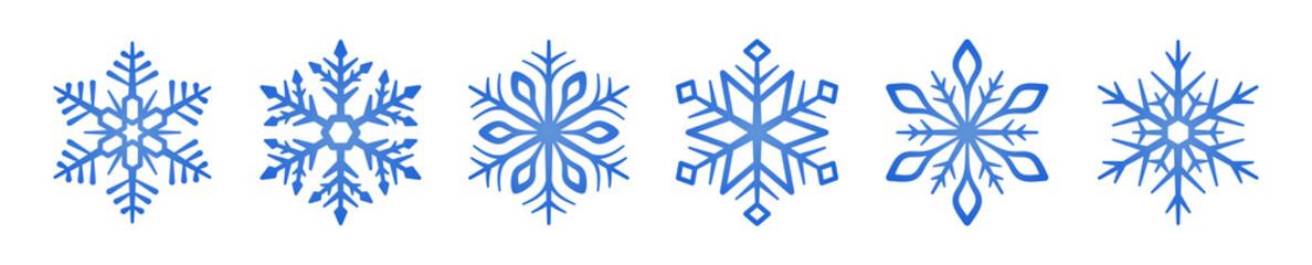 Set of blue Snowflakes icons. Snowflakes template. Snowflake winter. Snowflakes icons. Snowflake vector icon