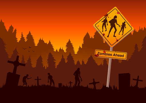 Graveyard with zombies and warning sign in orange theme. Illustration about Halloween and horror concept.