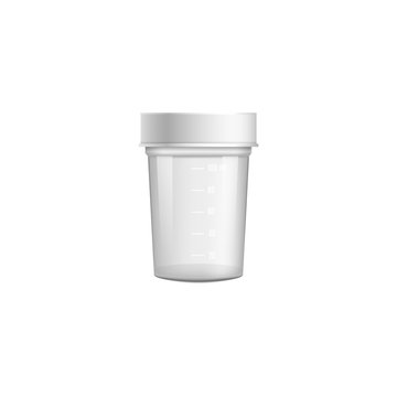 Small clear medical container for urine or stool sample with closed white lid