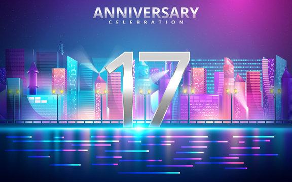 17 years anniversary invitation card. celebration template design with futuristic city. Vector illustration