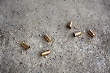 9 mm bullet shells lying on the ground