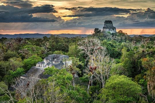 Tikal, Mayan Ruins, Bat Palace and Temple IV, Guatemala