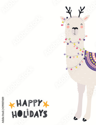 Hand Drawn Card With Cute Llama In Reindeer Antlers With