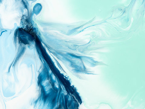 Fantastic Blue and green creative abstract hand painted background, marble texture, abstract dance