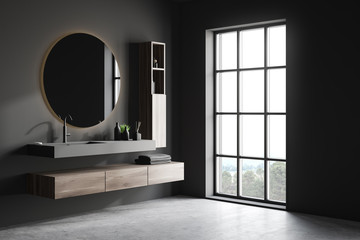 Gray bathroom corner with sink and mirror Wall mural