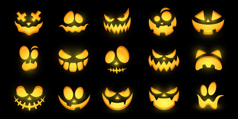 Scary and funny glowing faces of Halloween pumpkin or ghost . Vector collection.