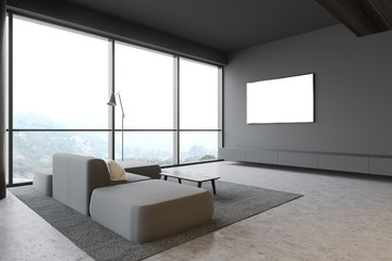 Gray living room with mock up TV and sofa