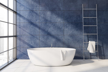 Blue bathroom interior with tub and ladder