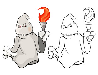 In de dag Babykamer Vector Illustration of a Cute Cartoon Character Ghost for you Design and Computer Game. Coloring Book Outline Set