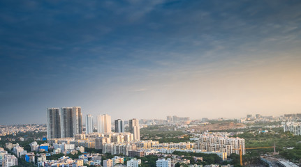 Hyderabad city buildings and skyline in India