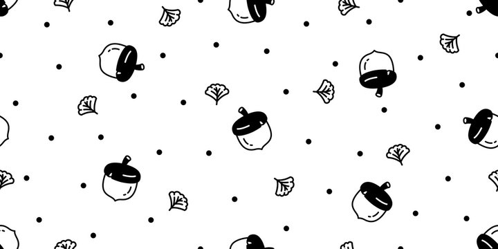 acorn seamless pattern vector walnut squirrel bean leaf polka dot scarf isolated cartoon tile wallpaper repeat background illustration doodle design