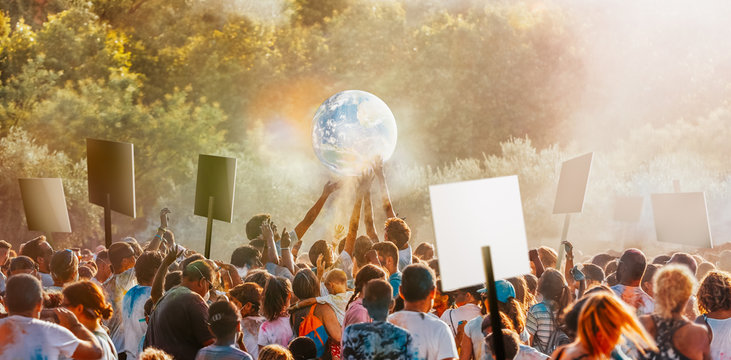 People gather to protest climate change