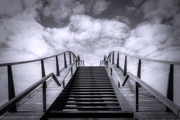 The stairs to the sky. Up the stairs. Black and white photography