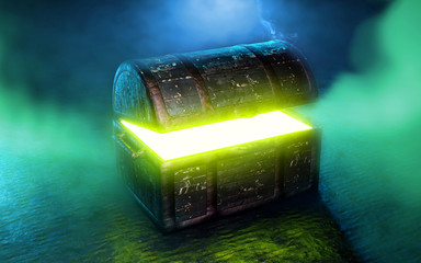 Pandora's box with green smoke 3d render