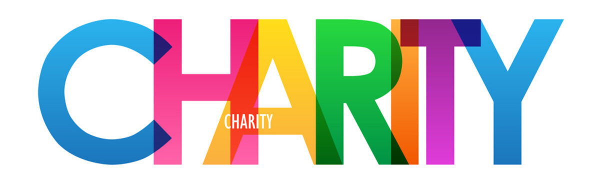 CHARITY colorful rainbow typography banner