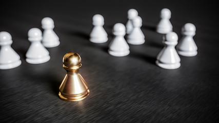 Fototapeta Bewerber oder kandidat hat Erfolg im job kann sich durchsetzen gegen mitbewerber in menge und überzeugt mit motivation als bester