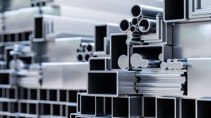 nahaufnahme von sortiment verschiender metall Profile aus aluminium und stahl als baustoff oder werkstoff in lager von großhandel oder baumarkt zur auswahl als 3d rendering