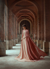 Sad princess in a vintage royal nude powdery color dress and in a cloak that flies in the wind. The magical Rays of the sun and hope pour on a woman through the columns. Long dark hair with a tiara.