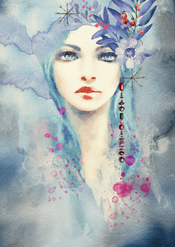 Winter. Abstract portrait of girl. Fashion watercolor background.