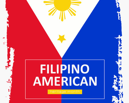 Hand draw Filipino American heritage flag in vector