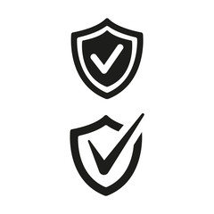 Shield with check mark icons on white background.