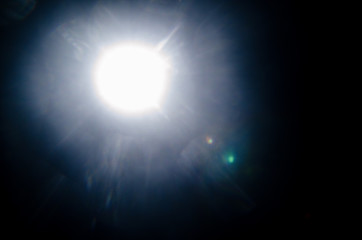 Abstract Natural Sun flare or Far star on the black background