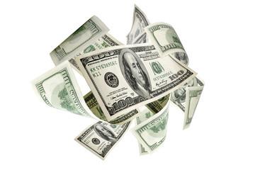 Money background. Hundred dollars of America. Usd cash money falling.