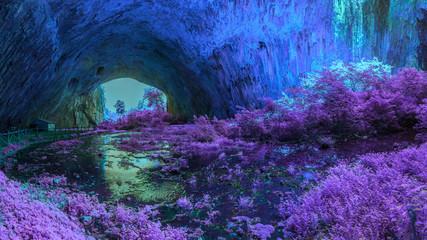Mystical cave in bright fantastic colors