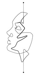 Foto op Plexiglas One Line Art Serene Female Face Single Continuous Line Vector Graphic Illustration