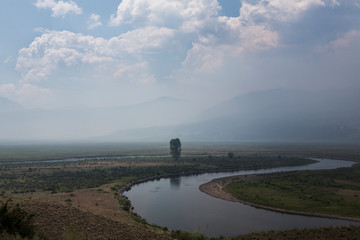 Forest fire smoke obscures the view in southwestern Colorado.