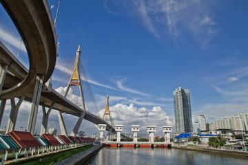 Bhumibol Industrial Ring Road bridge in the Chao Phra riverside