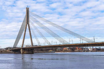 Wall Mural - Cable-stayed bridge in Riga