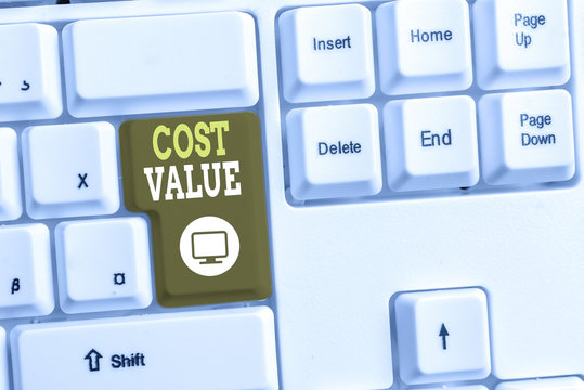 Text sign showing Cost Value. Business photo text The amount that usualy paid for a item you buy or hiring a demonstrating White pc keyboard with empty note paper above white background key copy space