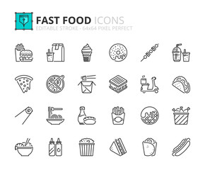 Outline icons about fast food