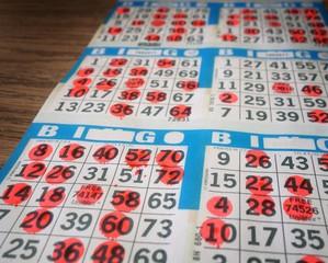 Bingo cards being played