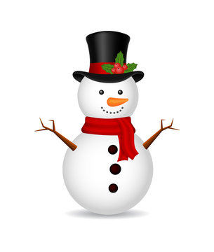 Christmas snowman with scarf on isolated background. Ice snow man for  holiday. White cartoon snowball, snowman. Christmas background. vector