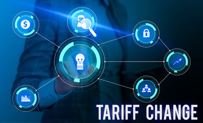 Conceptual hand writing showing Tariff Change. Concept meaning Amendment of Import Export taxes for goods and services Woman wear work suit presenting presentation smart device