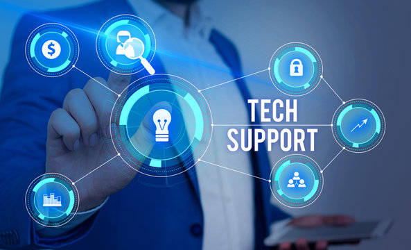 Word writing text Tech Support. Business photo showcasing Assisting individuals who are having technical problems Male human wear formal work suit presenting presentation using smart device