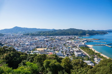 Cityscape of Sumoto city and port ,Awaji island ,hyogo,Japan