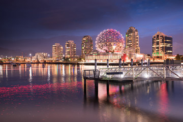 Deurstickers Zalm Vancouver city skyline at night, British Columbia, Canada