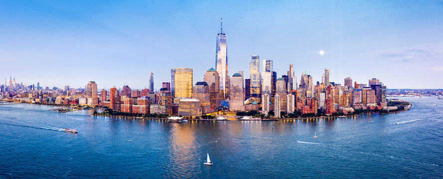 Drone panorama of Downtown New York skyline viewed from above Hudson River