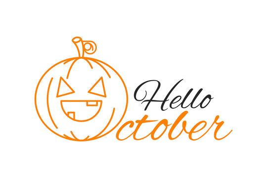 Hello October handwritten type lettering with a pumpkin.